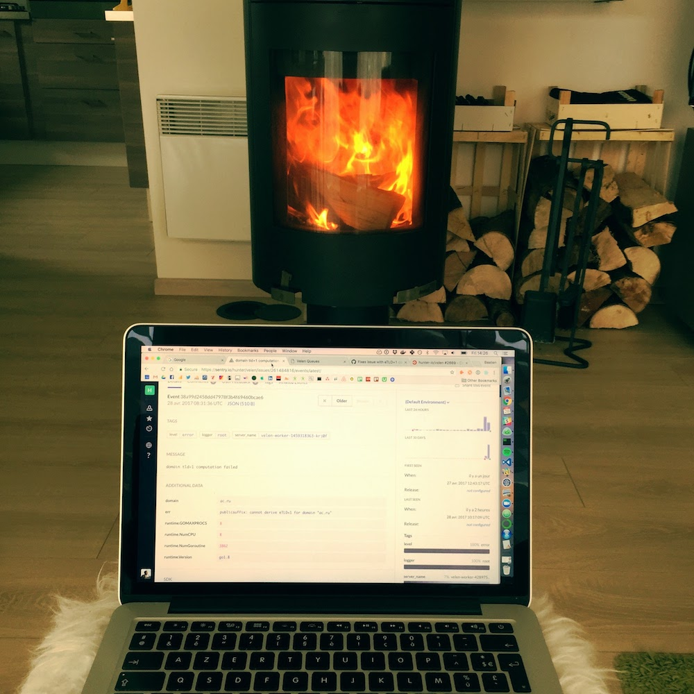 Debugging in front of a chimney